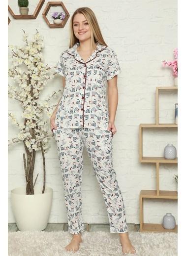 Akbeniz Kadın %100 Pamuk Önden Düğmeli Kısa Kol Pijama Takım 2802 Ekru